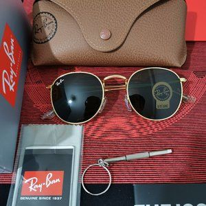 Brand-New Ray-Ban RB3447 001 50mm ROUND Gold Metal